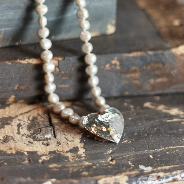 Huge hammered heart on pearls -small
