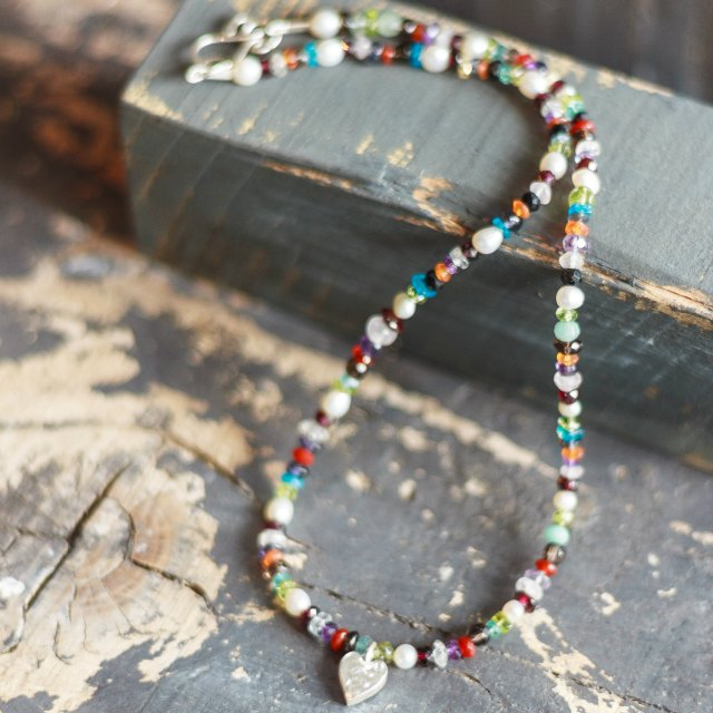 Multi stone necklace with heart - small