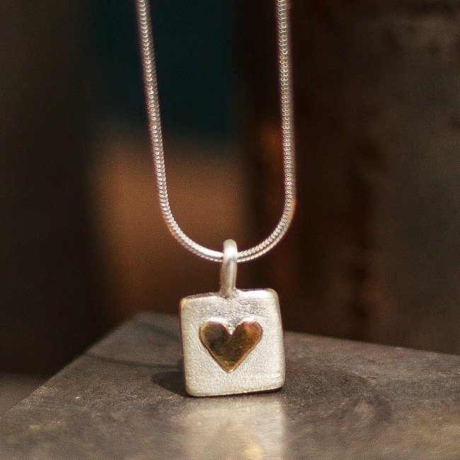 Chunky heart of gold pendant-small