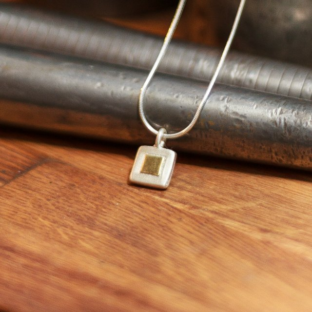 Chunky square of gold pendant-small