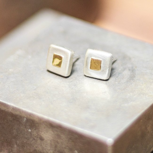 Chunky squares of gold studs - small