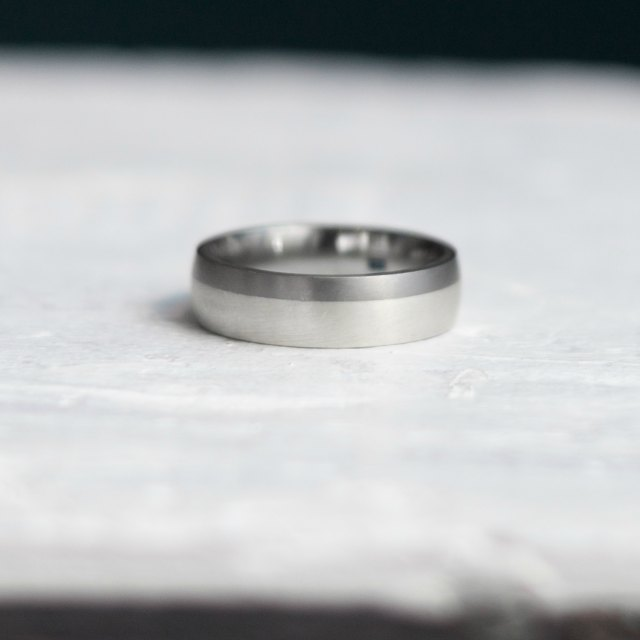 Titanium with Silver, 6mm wide, court shape - small